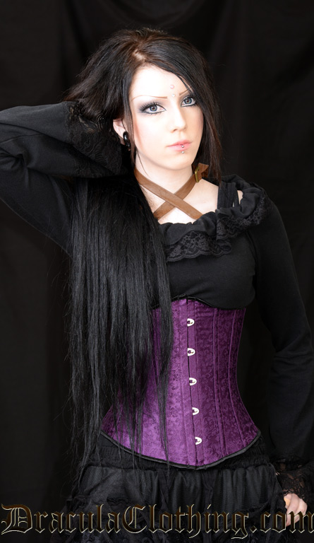 Purple Brocade Underbust Corset