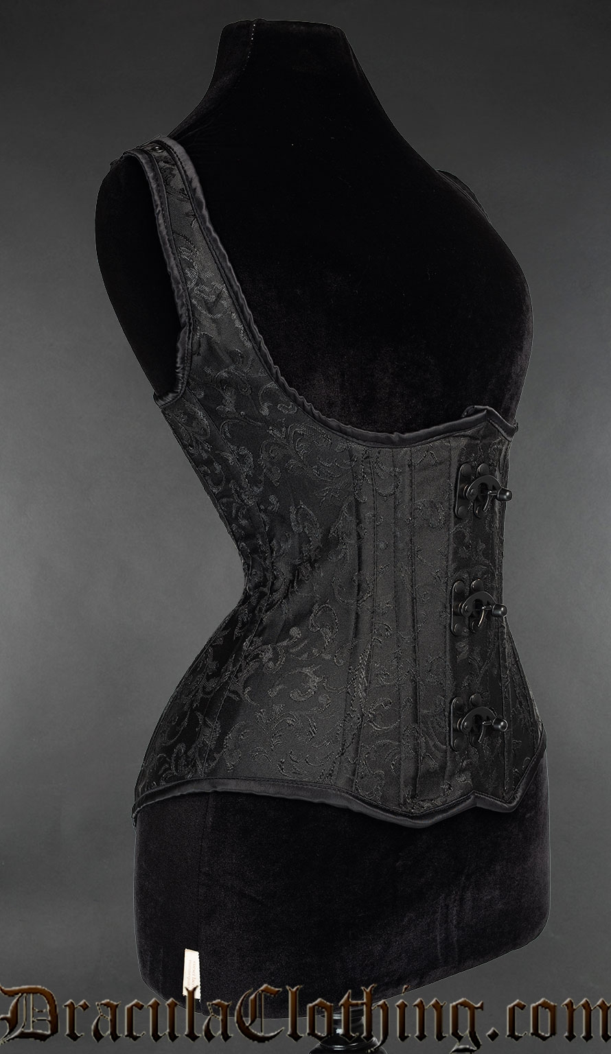 Black Brocade Black Clasp Shoulder Corset