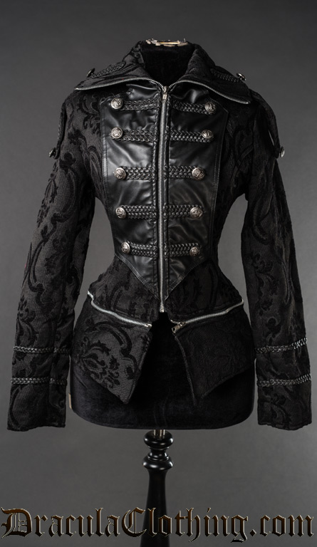 Black Brocade Dieselpunk Jacket