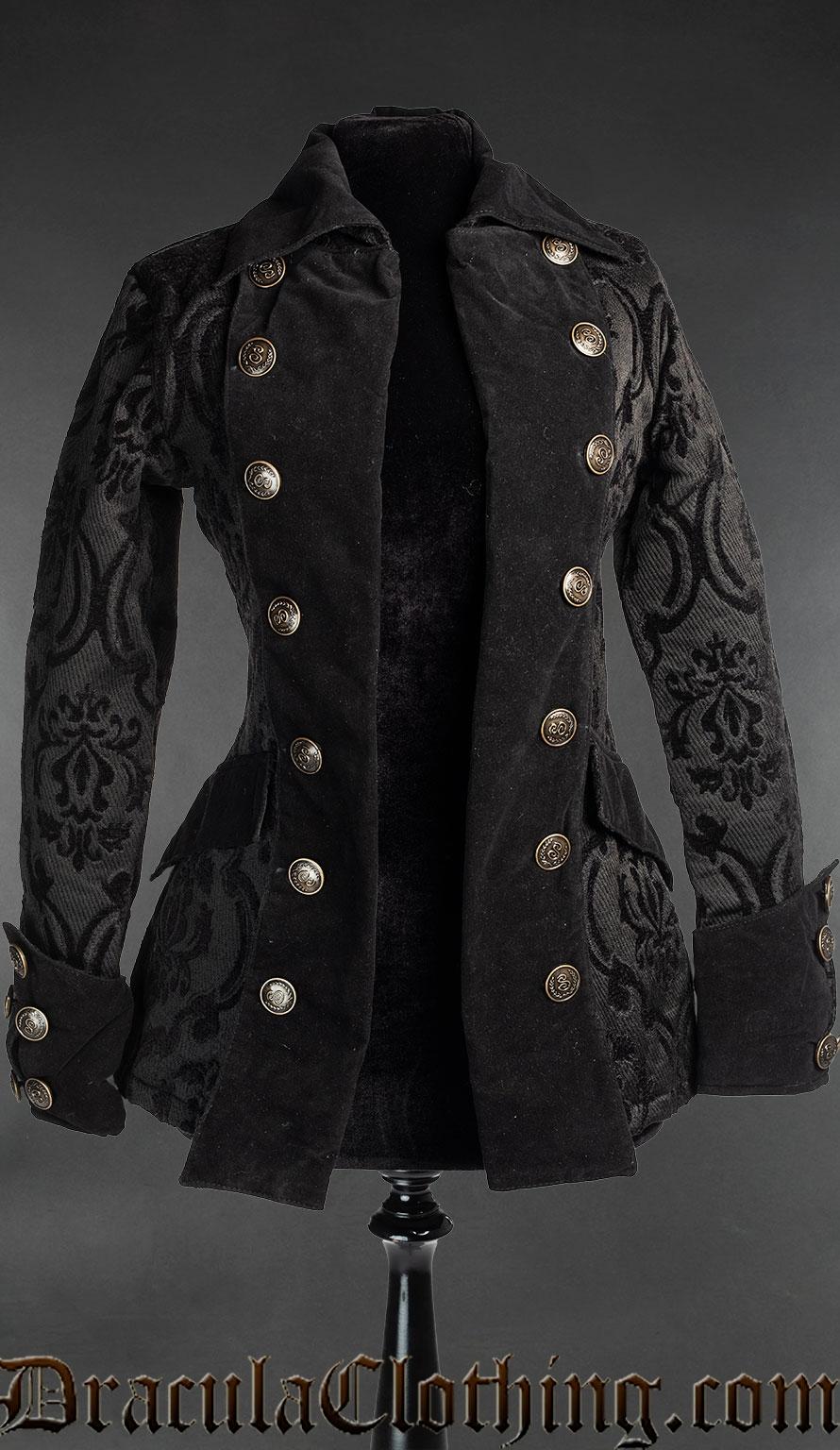Black Brocade Female Pirate Jacket