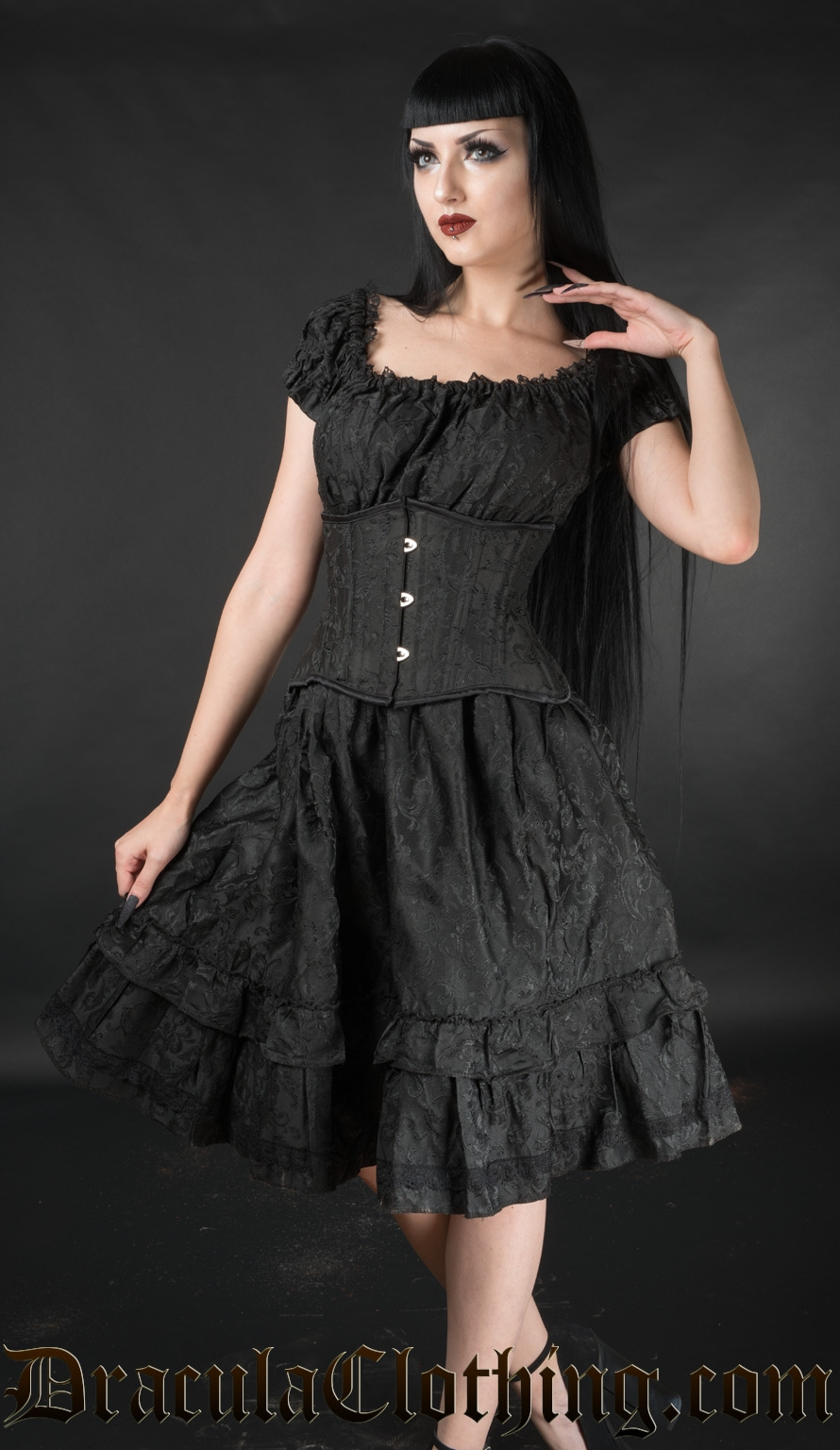 Black Brocade Gothabilly Dress
