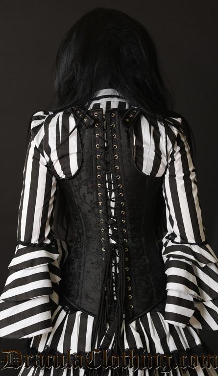 Black Brocade Shoulder Clasp Corset
