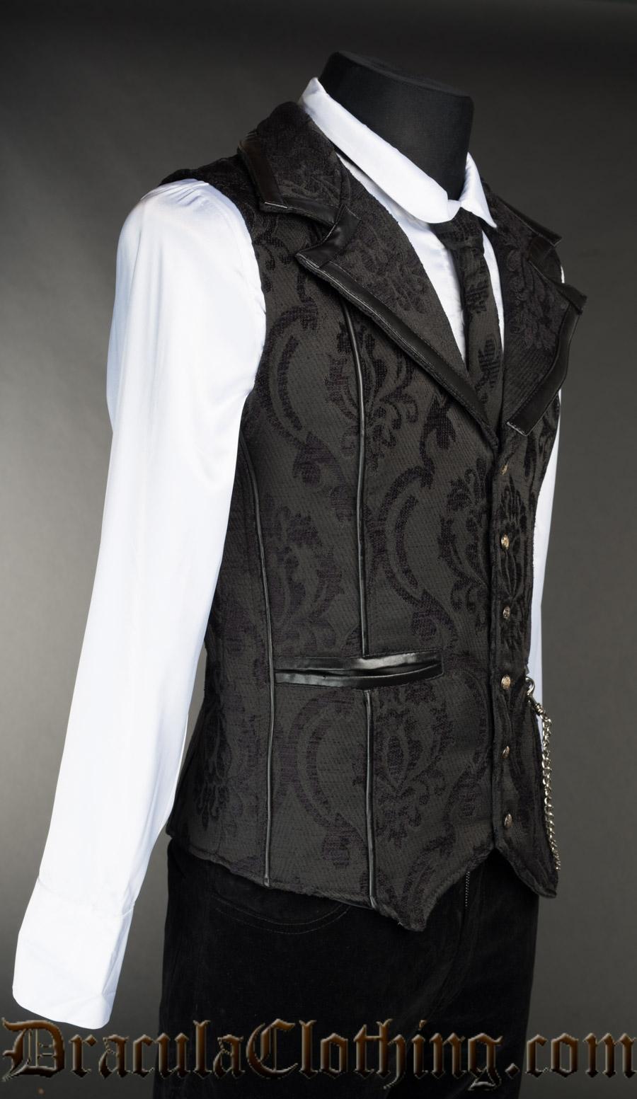 Black Brocade Tesla Vest