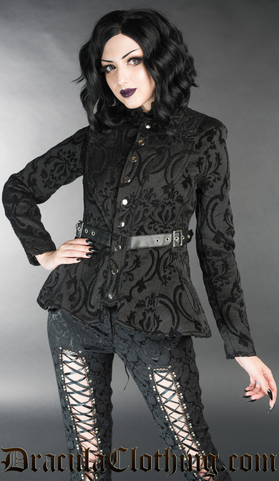 Black Brocade Vendetta Jacket