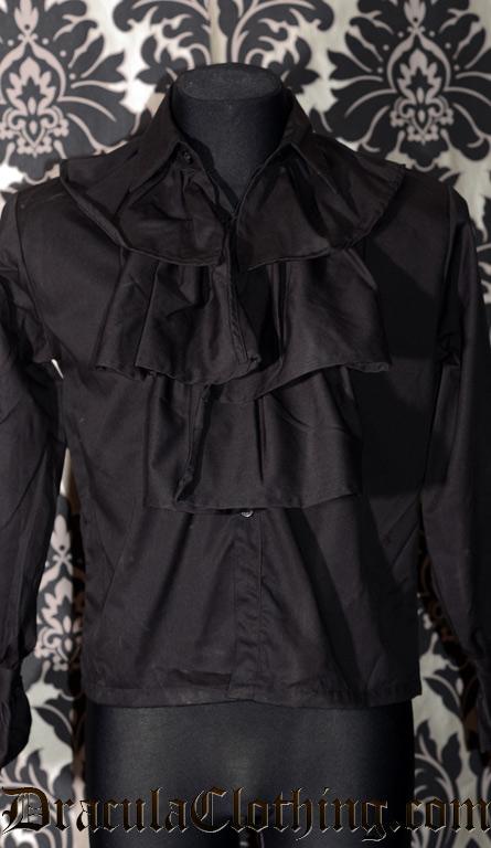 Black Cotton Cravat Shirt