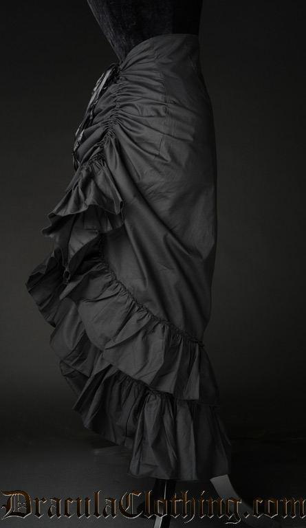 Black Cotton Two Layer Bustle Skirt