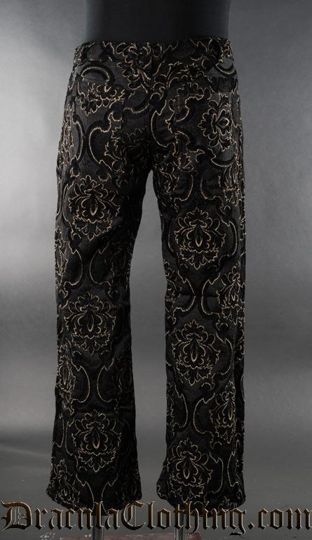 Black Jacquard Boots Pants