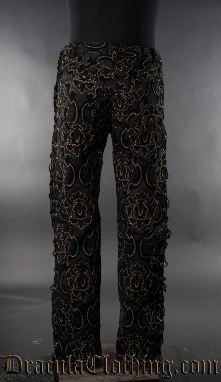 Black Jacquard Laced Pants