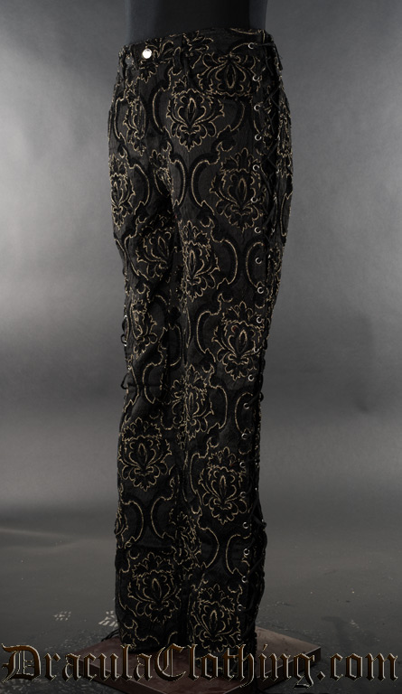 Black Jacquard Laced Pants