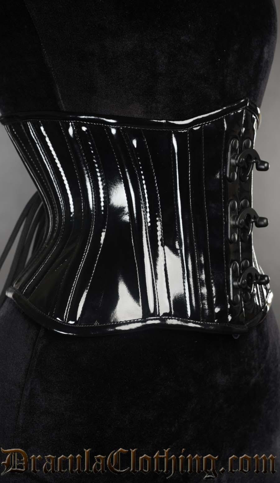 Black PVC Extreme Waist Clasp Cincher