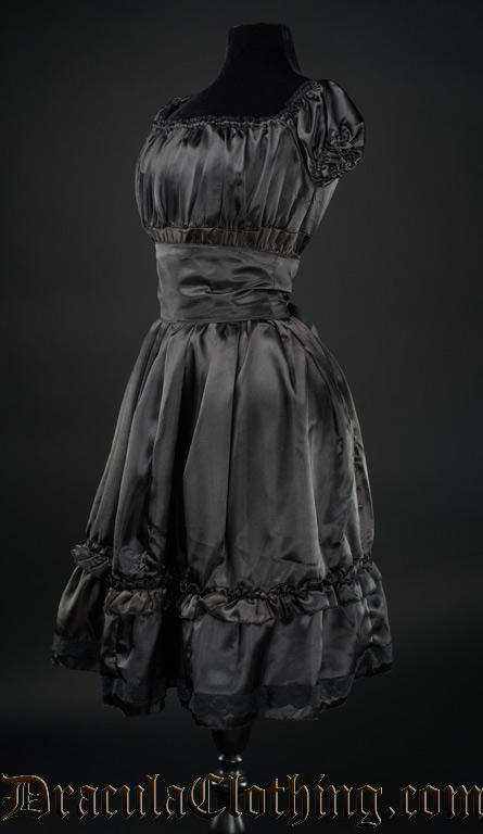 Black Satin Gothabilly Dress