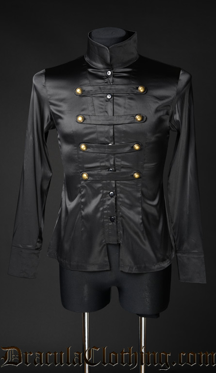 Black Satin Naval Shirt