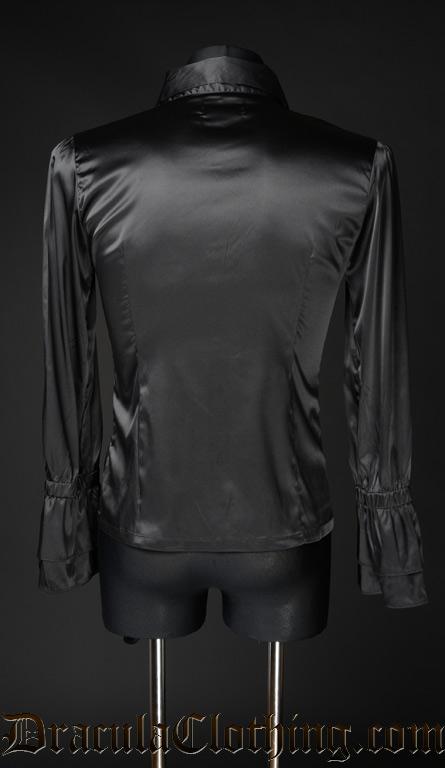 Black Satin Ruffle Shirt