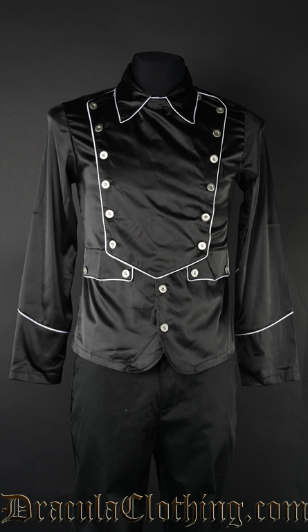 Black Satin Military Shirt