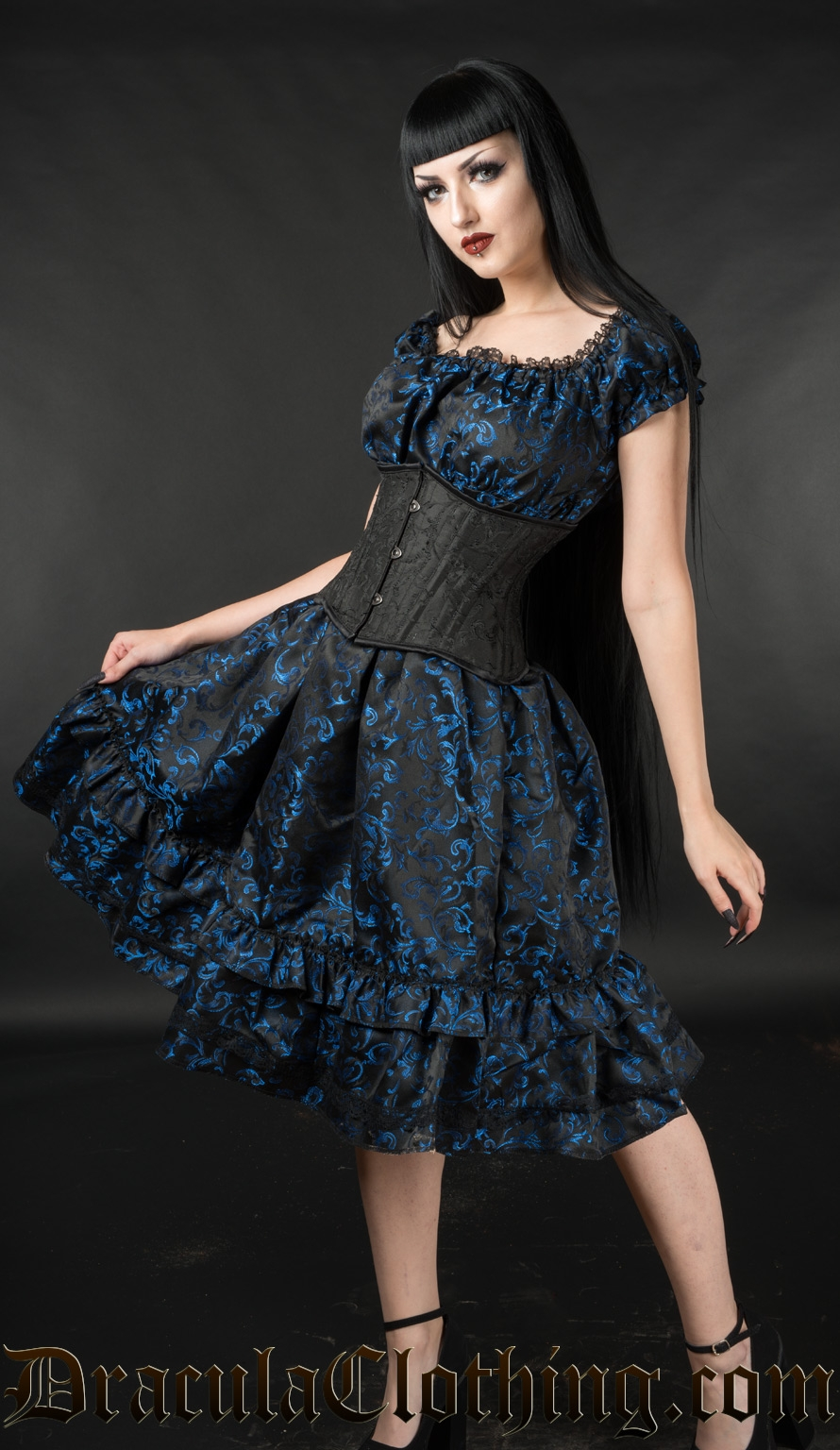 Blue Brocade Gothabilly Dress