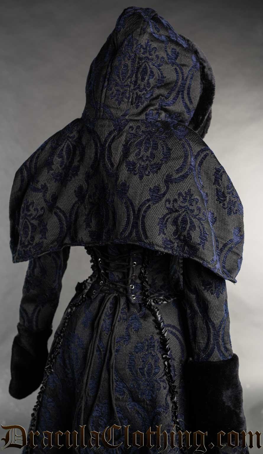 Blue Brocade Hood