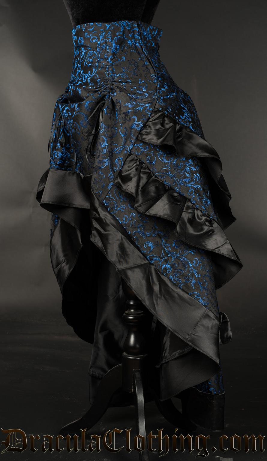 Blue Brocade Layer Bustle Skirt