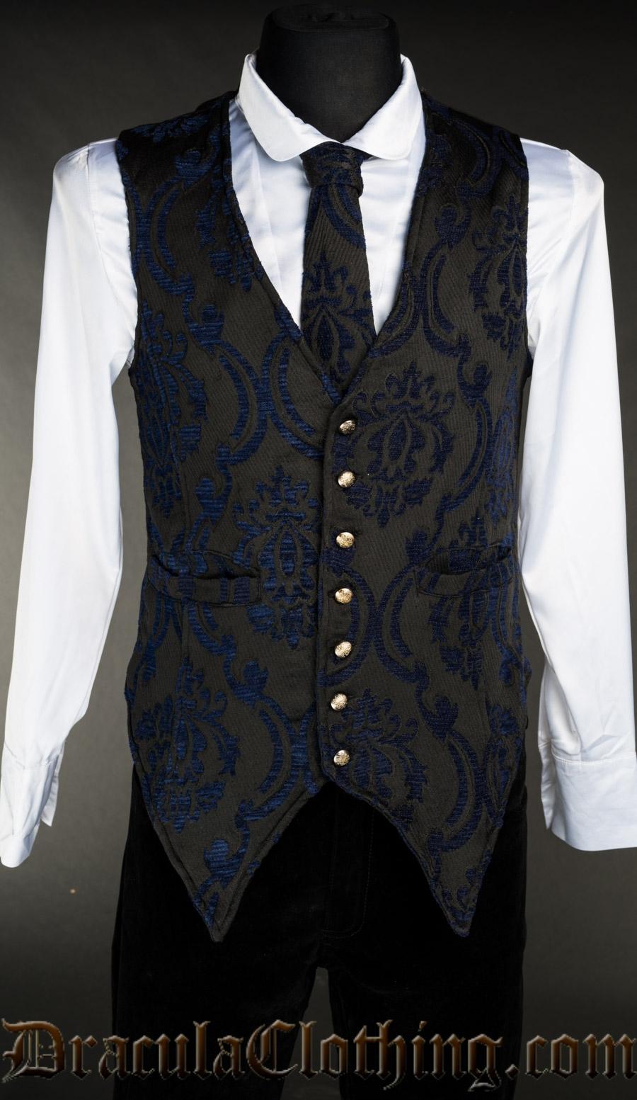 Blue Brocade Long Vest