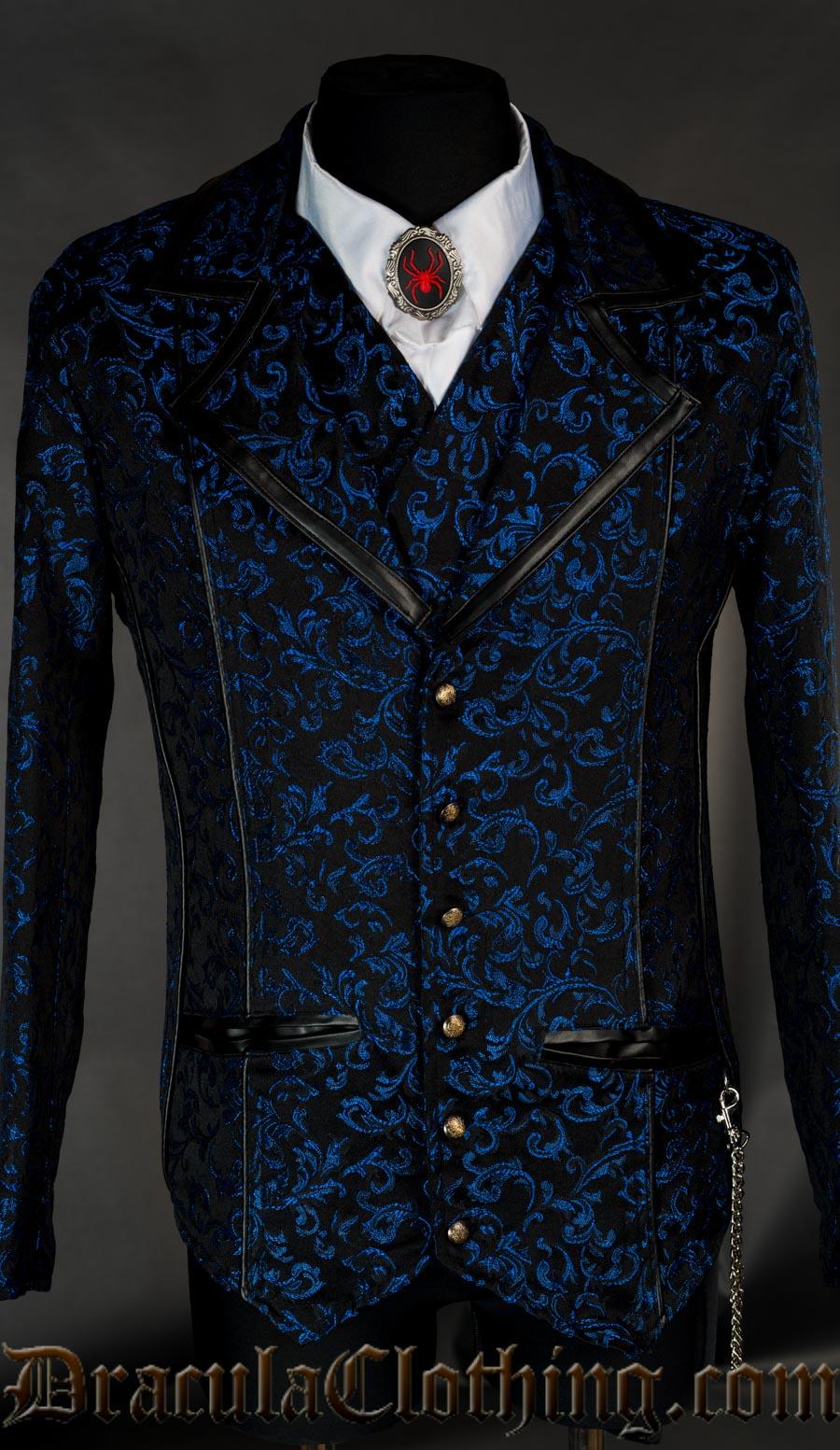 Blue Brocade Tesla Jacket