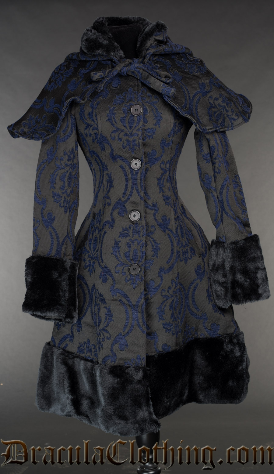 Blue Brocade Thick Winter Coat