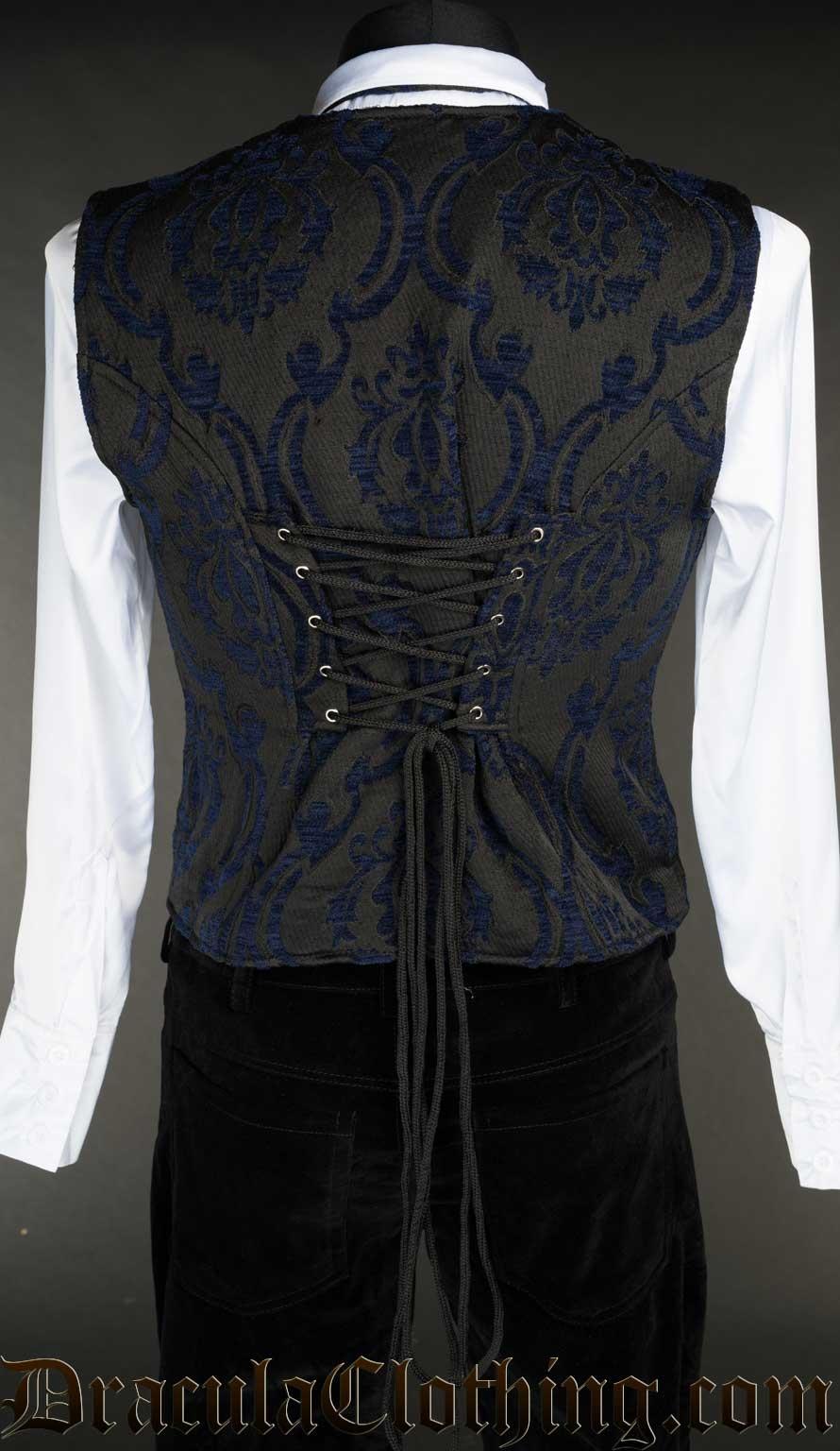 Blue Brocade Vest