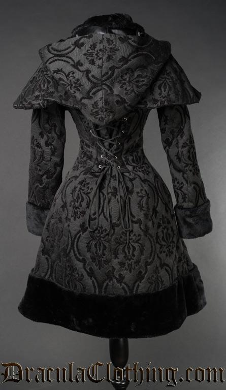 Black Brocade Thick Winter Coat