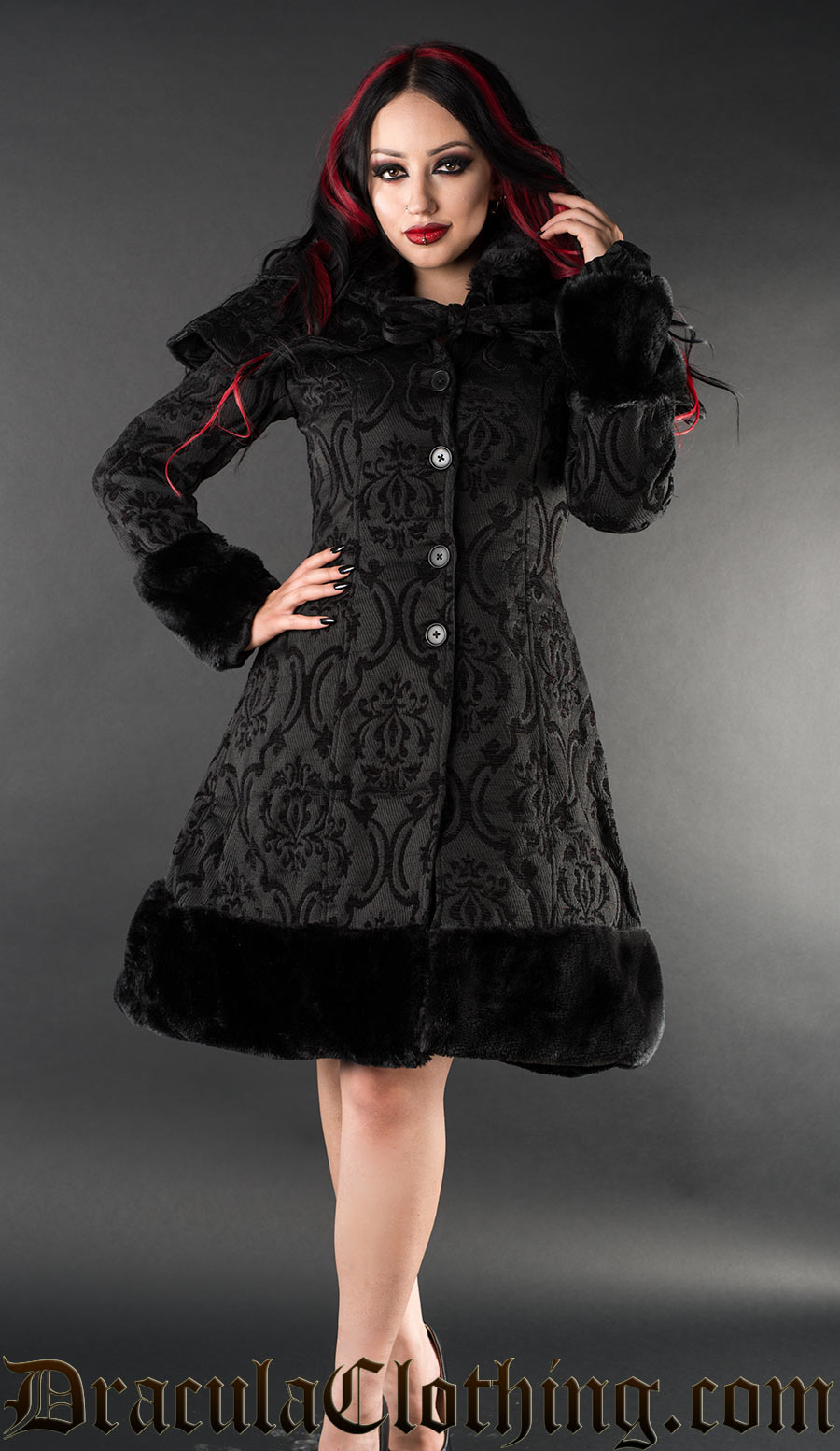 Brocade Thick Winter Wool Coat