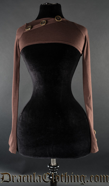 Brown Skinnyfit Button Shrug