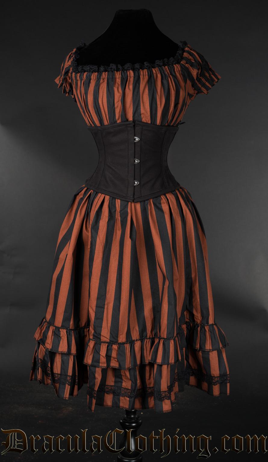 Brown Striped Gothabilly Dress