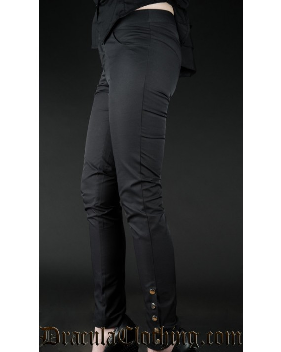 Black Five Button Pants