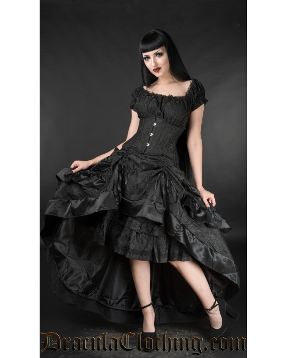Black Brocade Layer Bustle Skirt