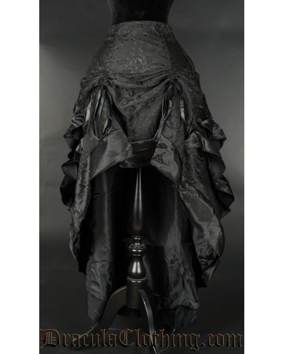 Black Brocade Layer Bustle Skirt