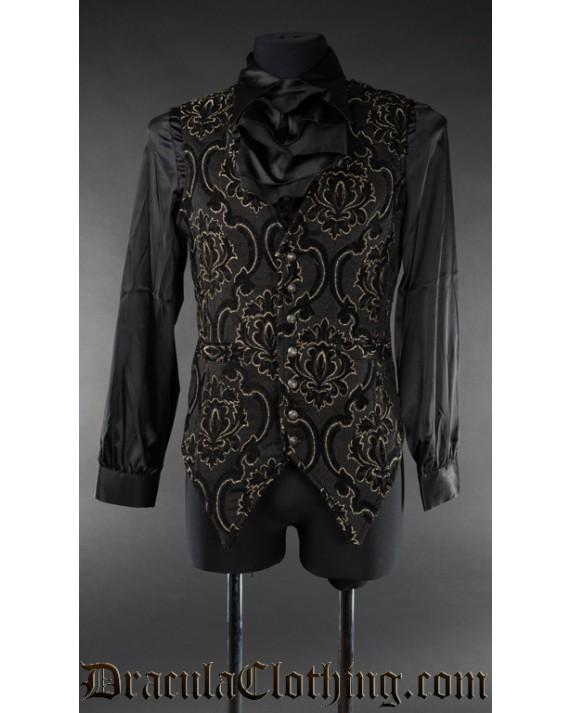 Black Jacquard Long Vest
