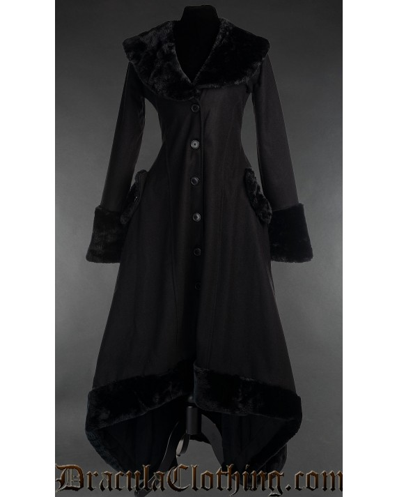 Black Wool Pocket Winter Coat