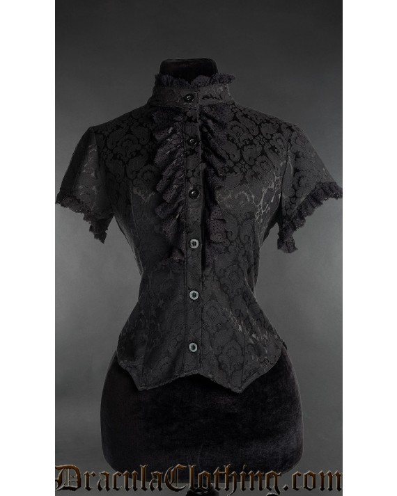 Brocade Short Sleeved Lace Blouse