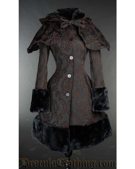 Brown Brocade Thick Winter Coat