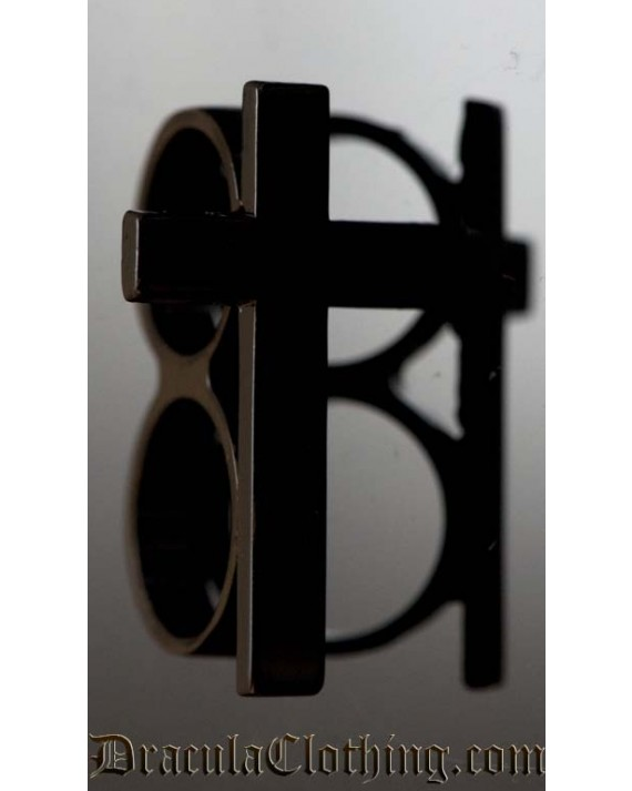 Black Cross Two Finger Ring
