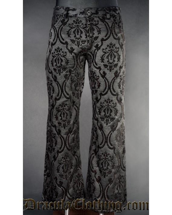 Black Brocade Boots Pants