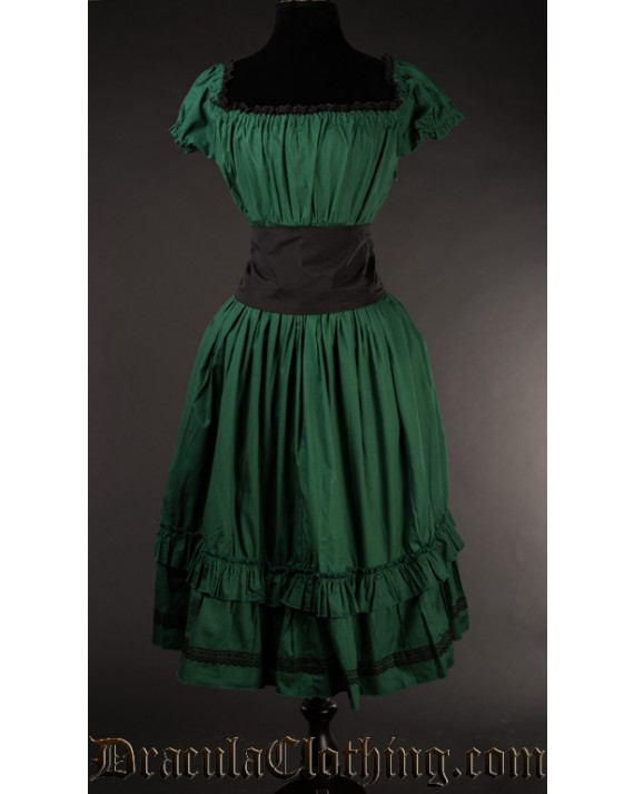 Green Cotton Gothabilly Dress