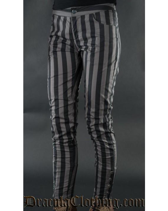 Grey Striped Five Button Pants