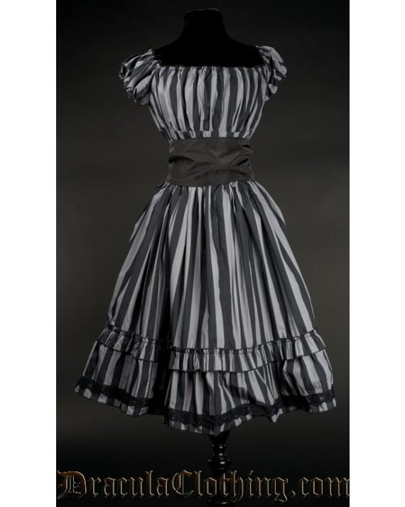 Grey Striped Gothabilly Dress