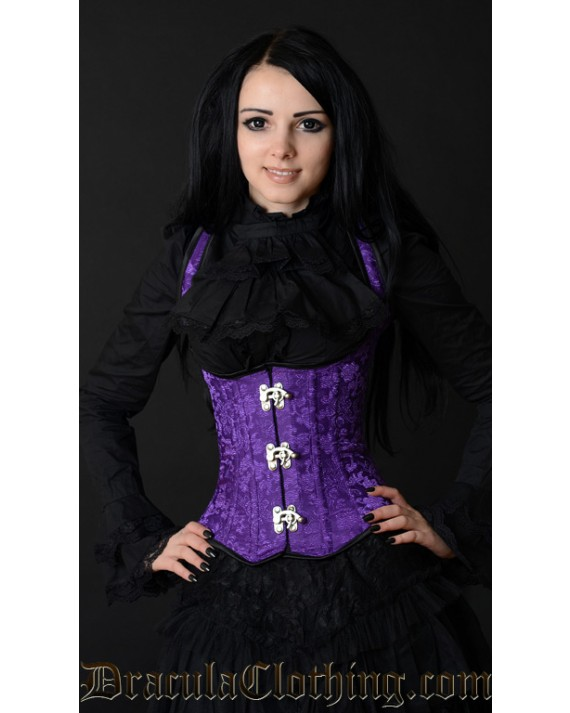 Purple Brocade Shoulder Clasp Corset