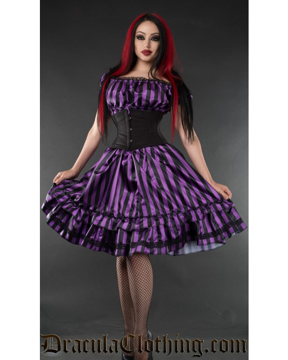 Purple Striped Satin Gothabilly Dress