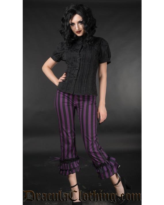 Purple Striped Ruffle Pants