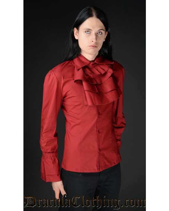 Red Cotton Ruffle Shirt