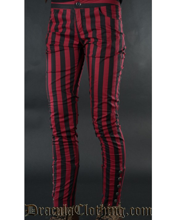 Red Striped Five Button Pants