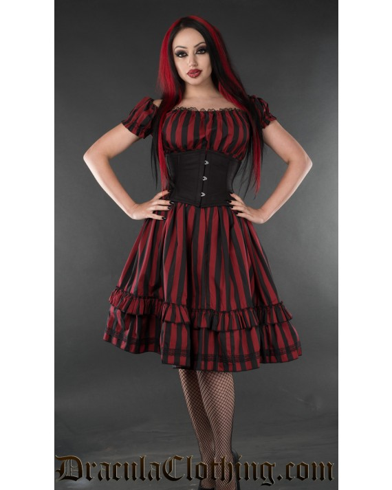 Red Striped Gothabilly Dress