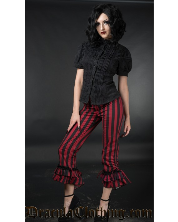 Red Striped Ruffle Pants