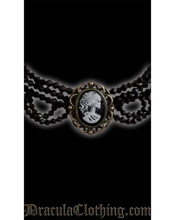 Skeleton Lady Cameo Necklace