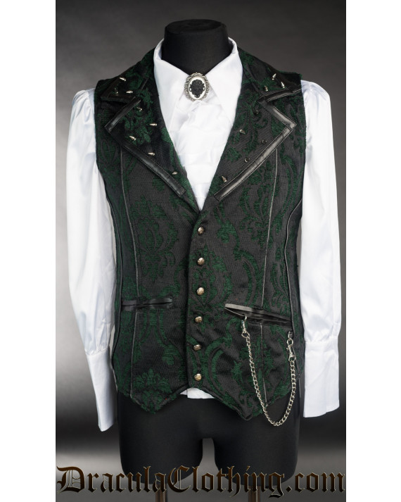 Spiked Green Brocade Vest